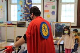 Zero the Hero Visits Primary Centers for 100th Day of School