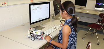 A student working on Robotics.