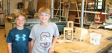 Photo of students in Wood Shop.