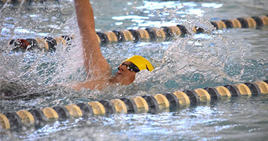 SHS swimmer competing at a swim race.